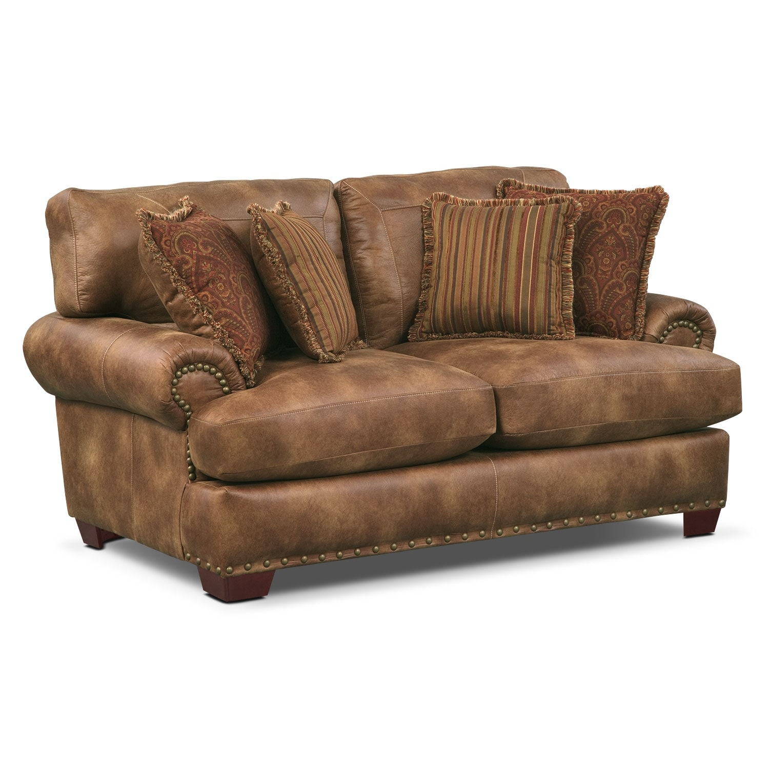 Living Room Furniture - Burlington Loveseat - Cognac