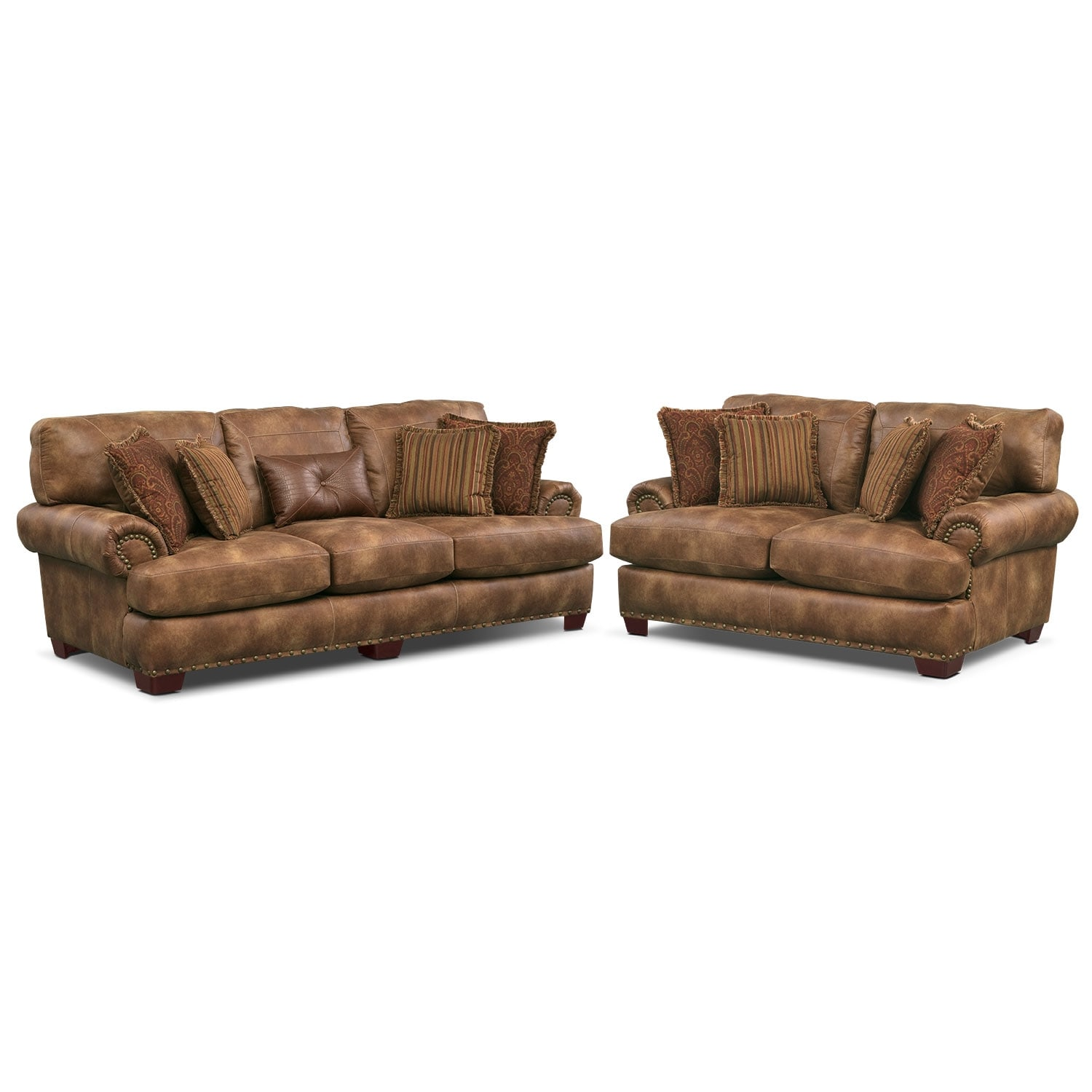 Burlington Sofa and Loveseat Set - Cognac