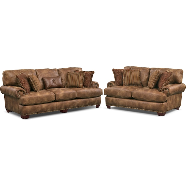 Living Room Furniture - Burlington Sofa and Loveseat Set - Cognac
