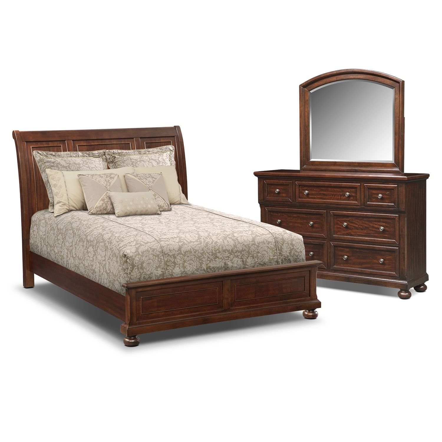 bedroom furniture hanover 5 piece king panel bedroom set cherry