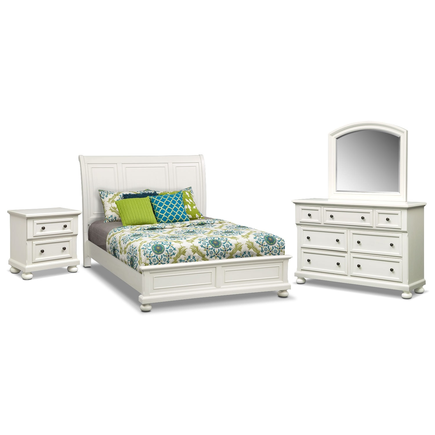 Hanover 6 piece king panel bedroom set white american for Bedroom 6 piece set