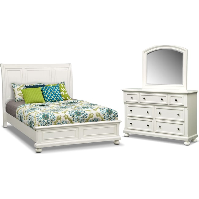 Bedroom Furniture - Hanover 5-Piece Queen Panel Bedroom Set - White