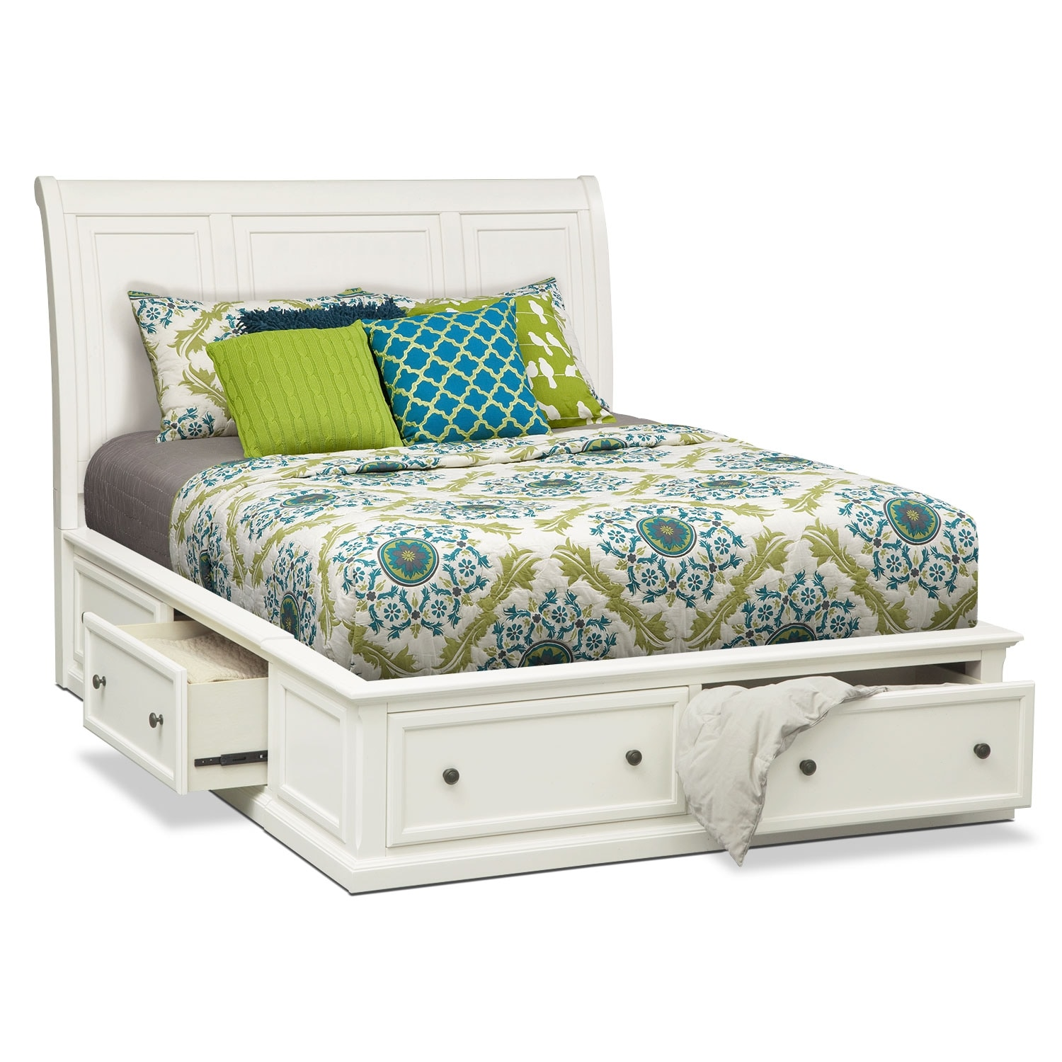 Hanover queen storage bed white american signature for Bedroom set and mattress