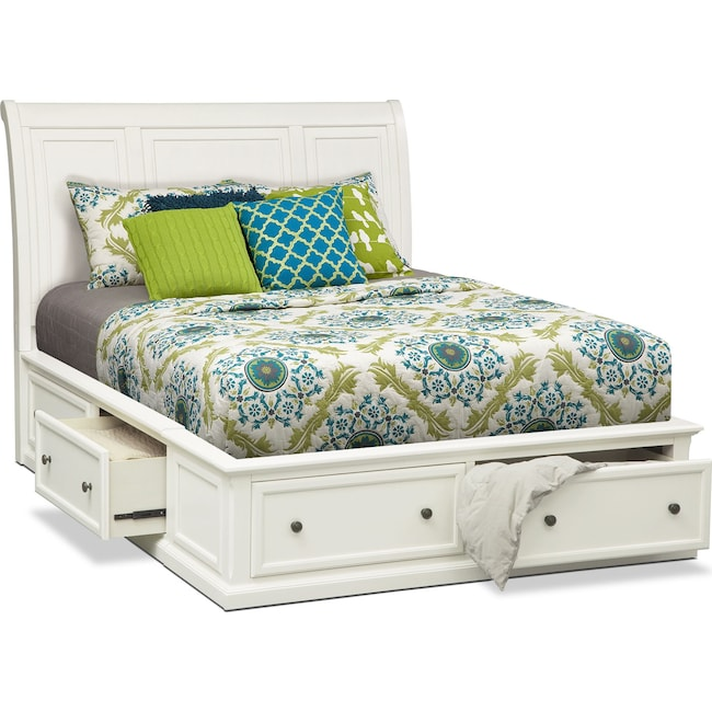 Bedroom Furniture - Hanover Queen Storage Bed - White