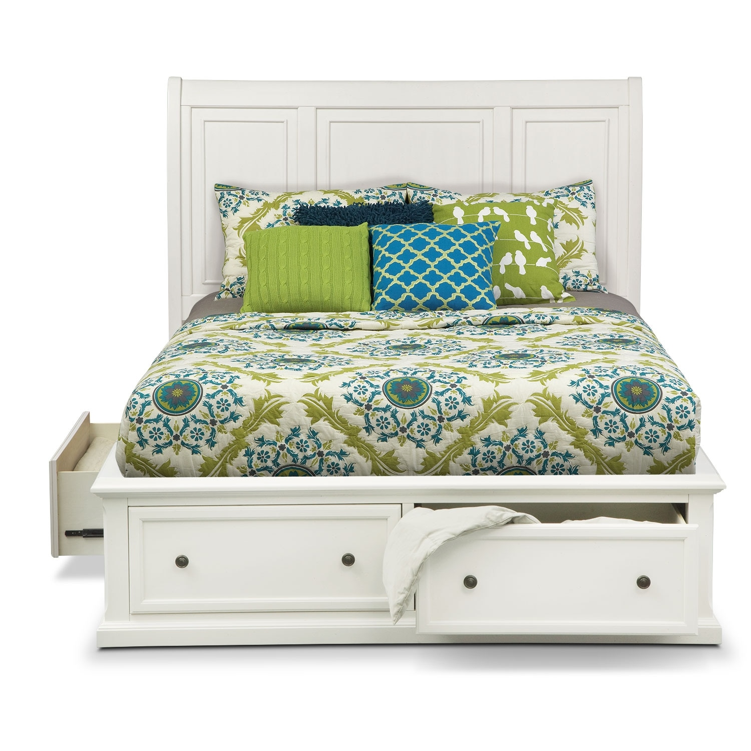 Hanover king storage bed white american signature for Bedroom furniture sets with storage beds