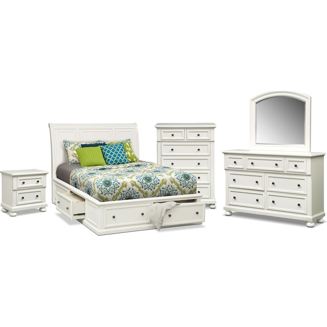 Bedroom Furniture - Hanover 7-Piece Queen Storage Bedroom - White