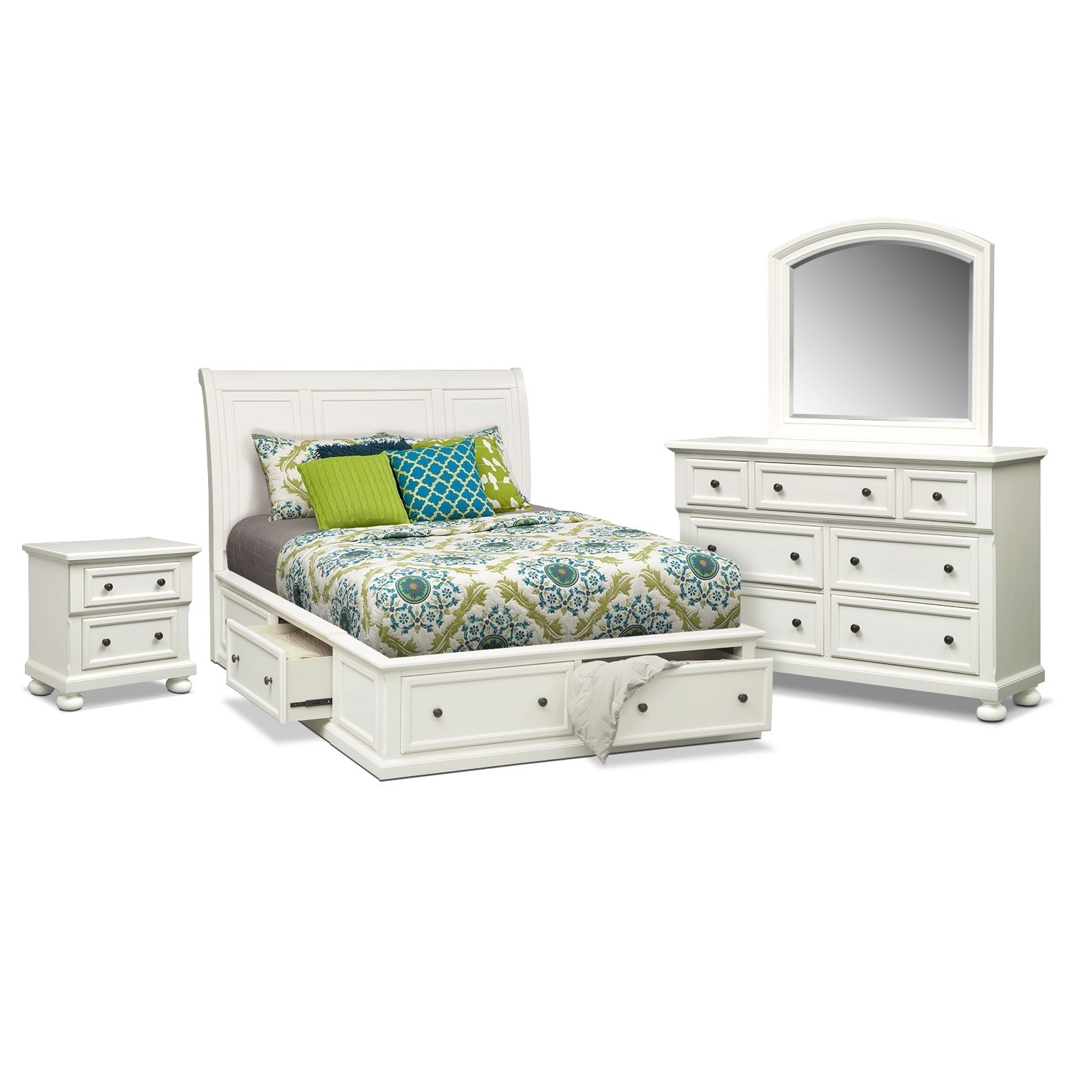 Hanover 6-Piece Queen Storage Bedroom Set - White