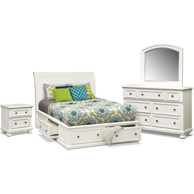 Bedroom Furniture - Hanover 6-Piece Queen Storage Bedroom Set - White