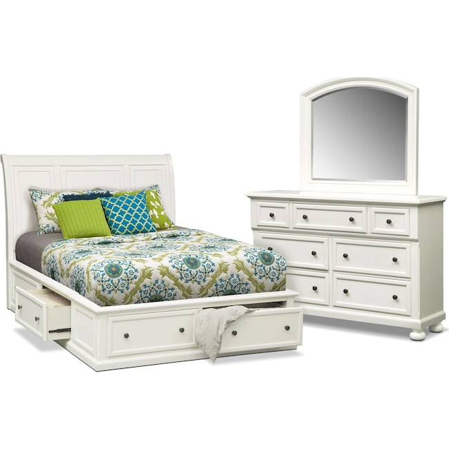 Bedroom Furniture - Hanover 5-Piece Queen Storage Bedroom Set - White