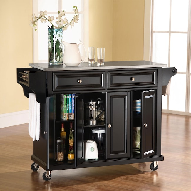 Accent and Occasional Furniture - Albany Kitchen Cart - Black