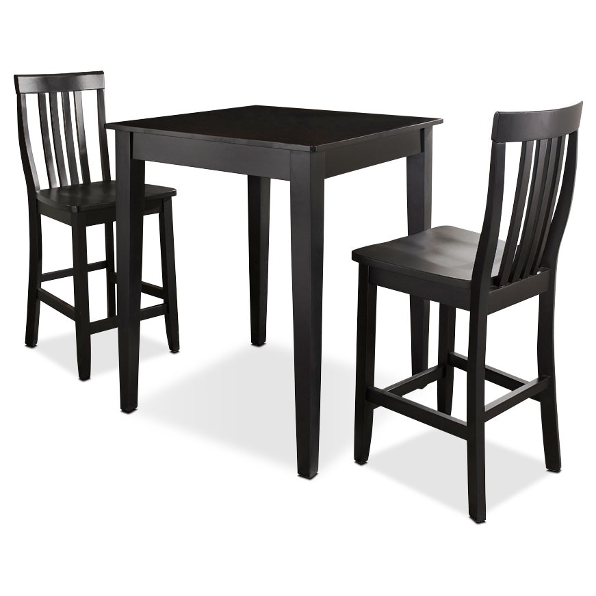 Dining Room Furniture - Monti Pub Table and 2 Chairs - Black