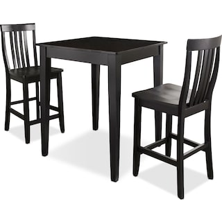 Monti Pub Table and 2 Chairs - Black