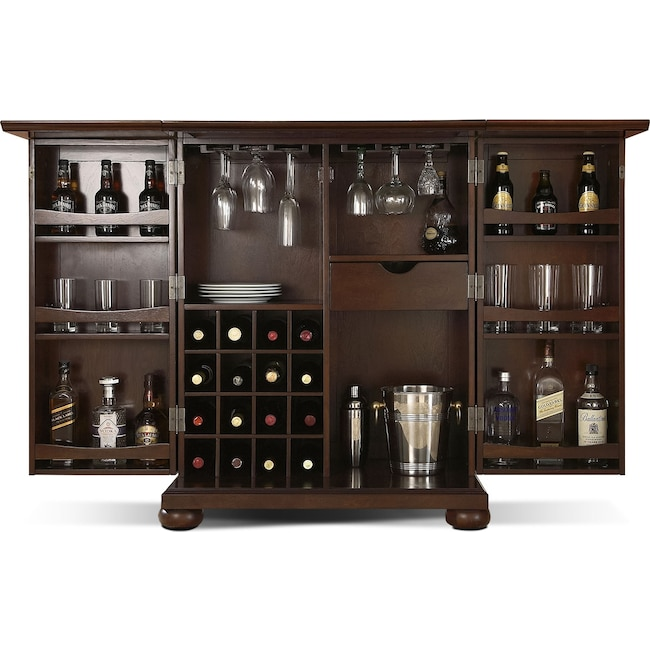 Best Renzo Bar Cabinet - Mahogany | American Signature Furniture FM14