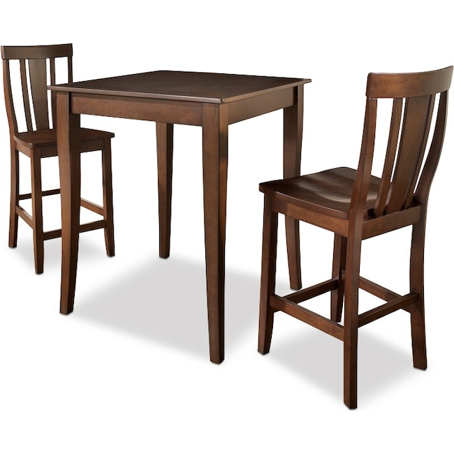 Dining Room Furniture - West Pub Table and 2 Chairs - Mahogany