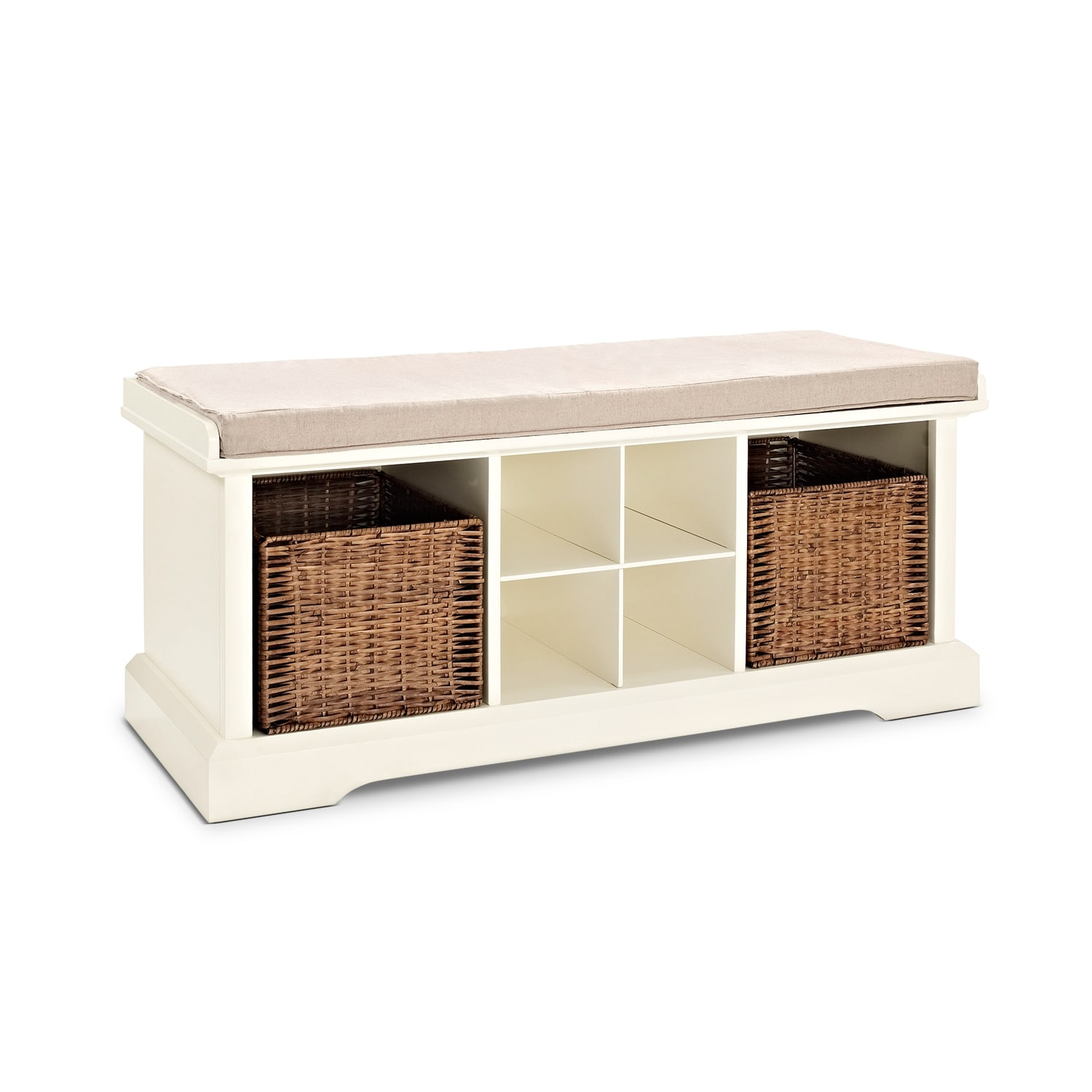 Levi Entryway Storage Bench White American Signature Furniture