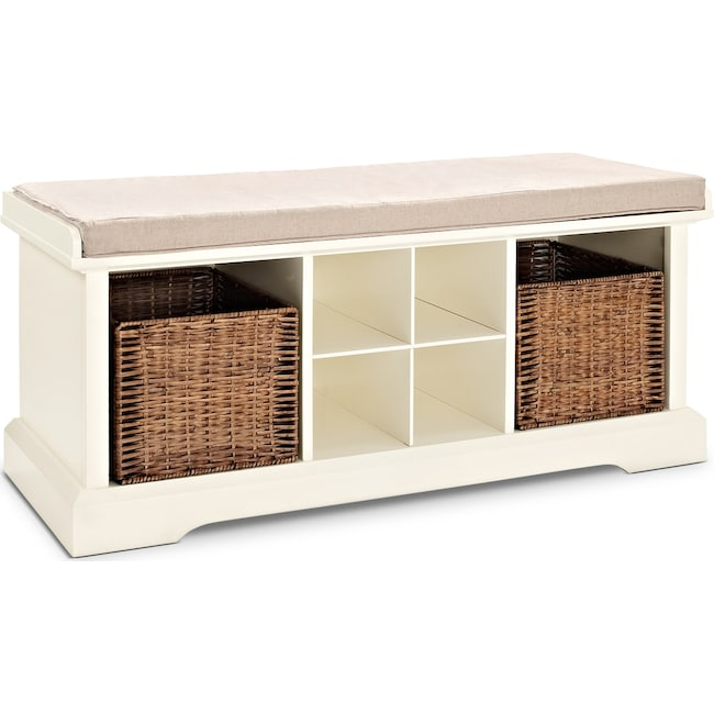 Accent and Occasional Furniture - Levi White Entryway Storage Bench