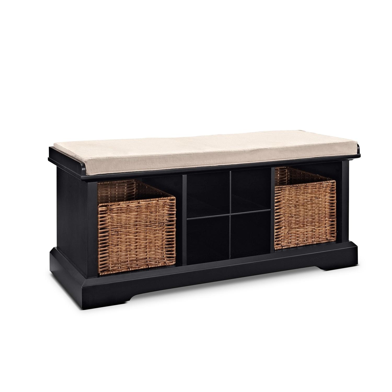 Levi Entryway Storage Bench Black American Signature Furniture