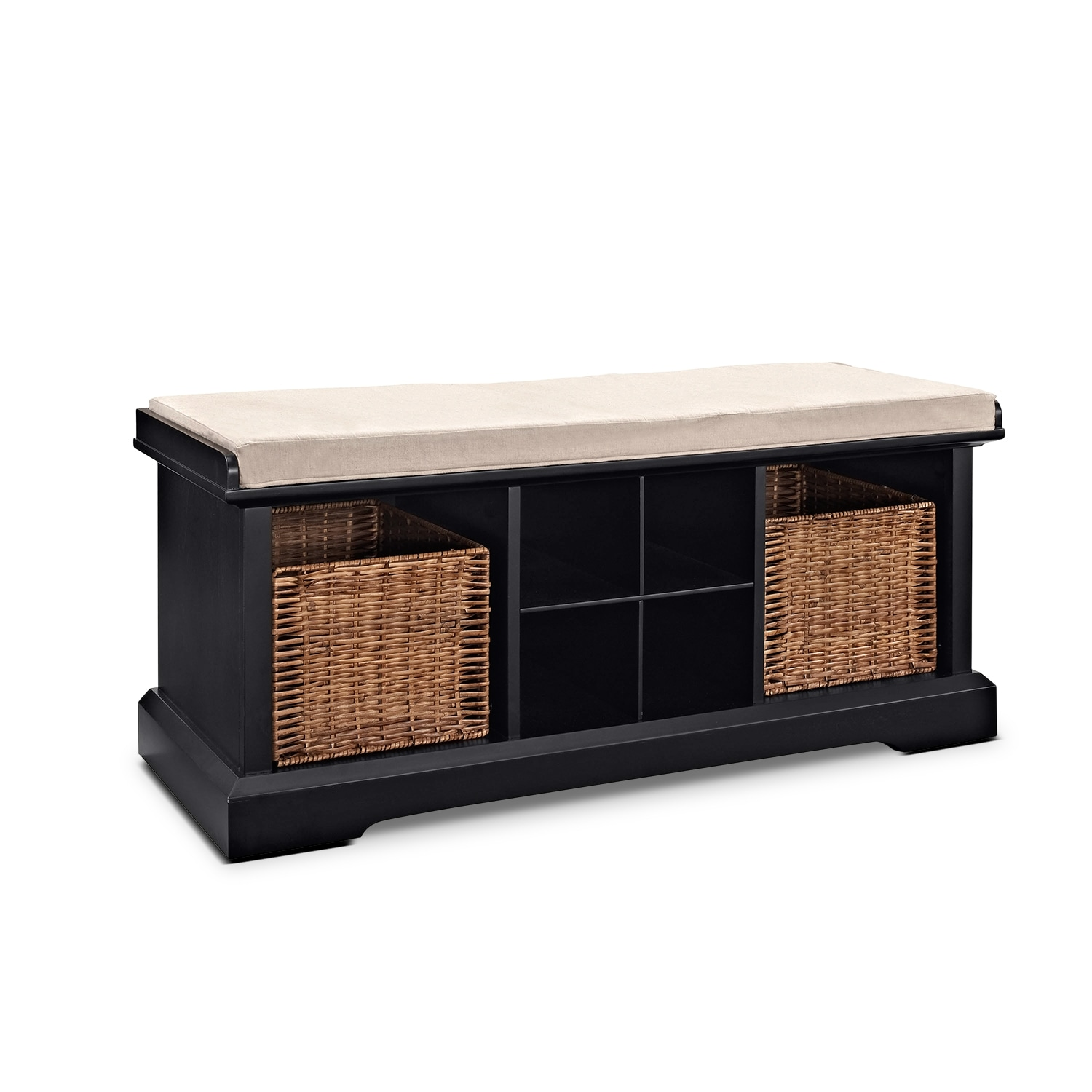 Levi Entryway Storage Bench   Black