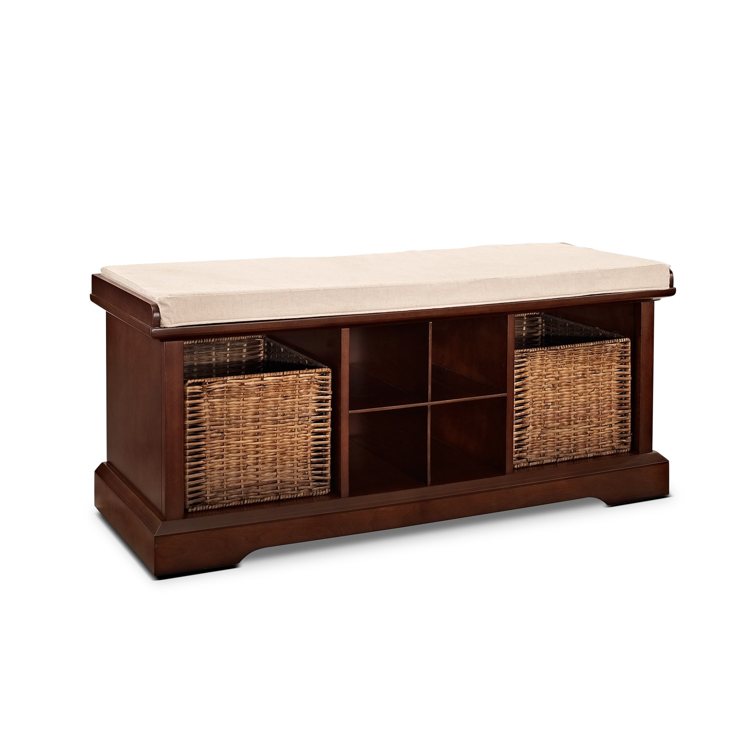 Levi Entryway Storage Bench Mahogany American Signature Furniture