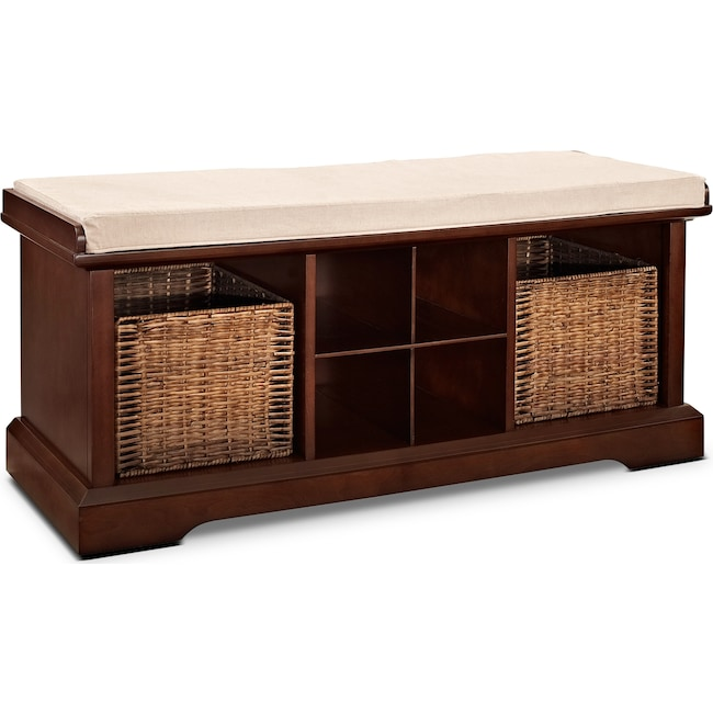 Accent and Occasional Furniture - Levi Entryway Storage Bench - Mahogany
