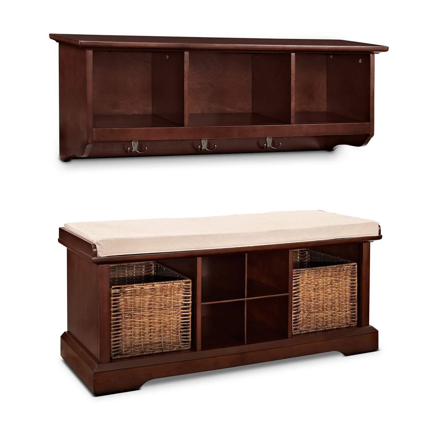 Accent and Occasional Furniture - Levi 2 Pc. Mahogany Entryway System