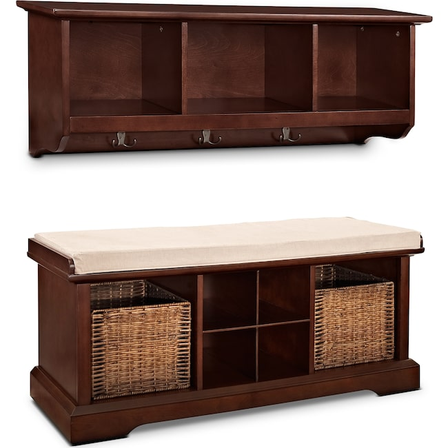 Accent and Occasional Furniture - Levi 2-Piece Entryway System - Mahogany