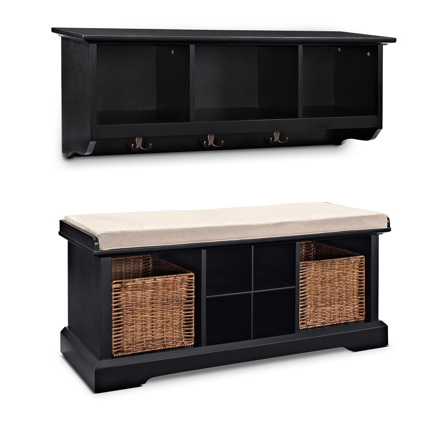 Levi 2 Pc. Black Entryway System