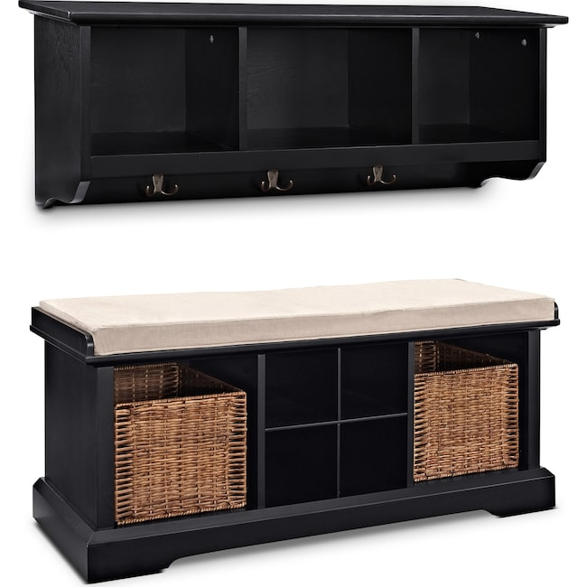 Accent and Occasional Furniture - Levi 2-Piece Entryway System - Black