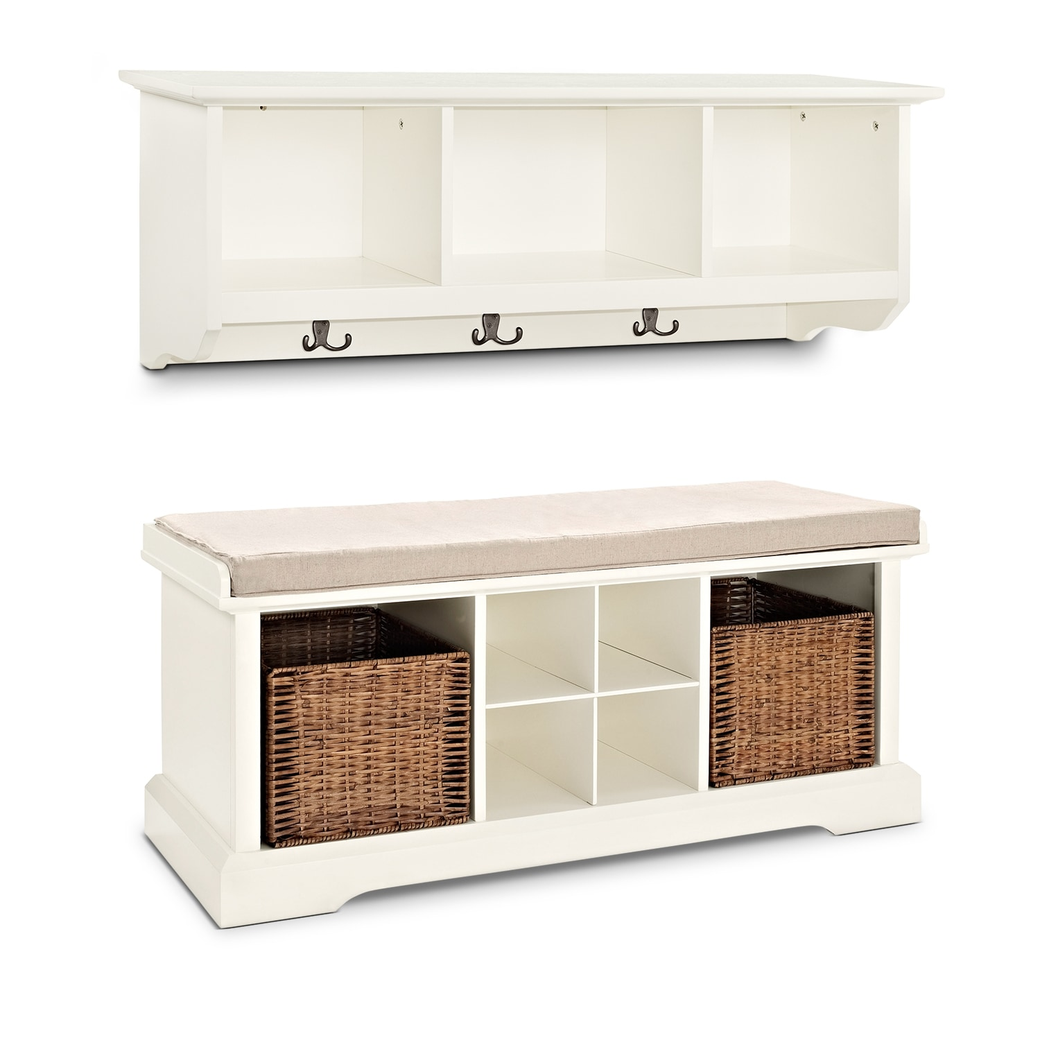 Hall_Entrance Furniture - Levi 2 Pc. White Entryway System