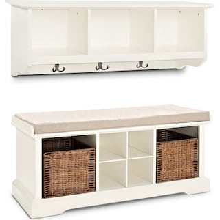 Levi 2-Piece Entryway Set - White
