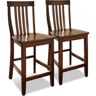 Melrose 2-Pack Barstools - Mahogany