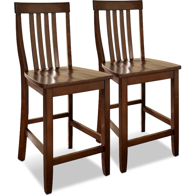 Dining Room Furniture - Melrose 2-Pack Counter-Height Stools - Mahogany