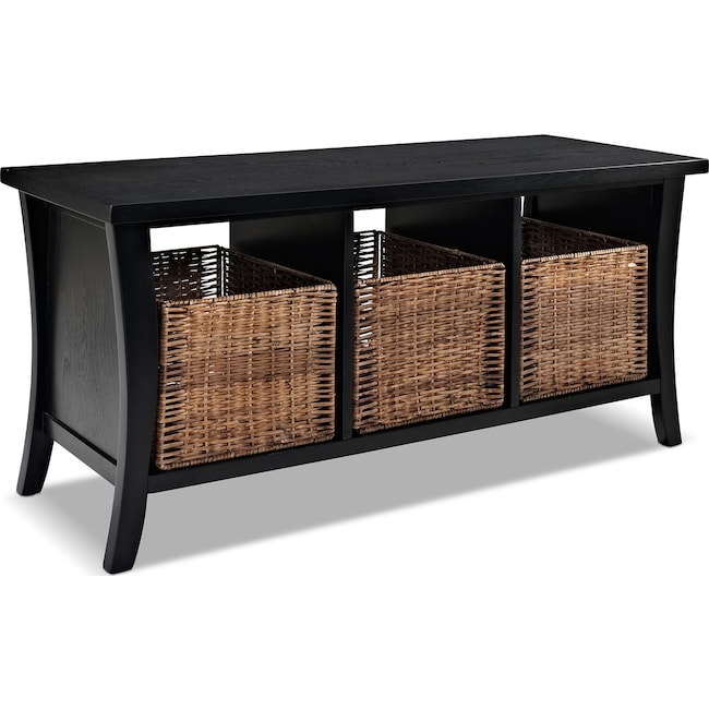 Accent and Occasional Furniture - Mae Entryway Storage Bench - Black