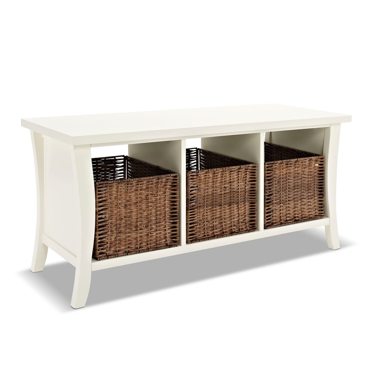Mae White Entryway Storage Bench American Signature Furniture
