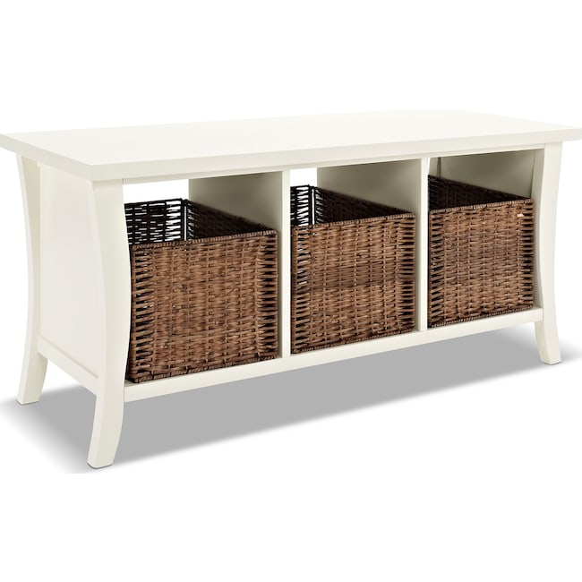 Accent and Occasional Furniture - Mae Entryway Storage Bench - White