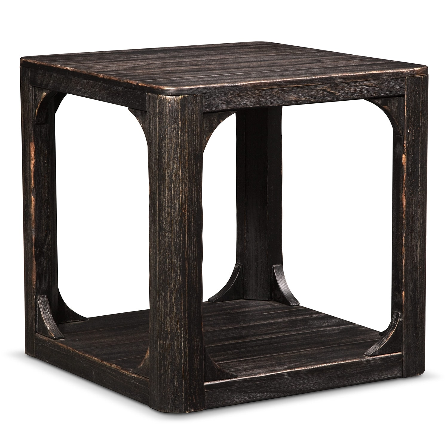 Prentice Square End Table - Weathered Black