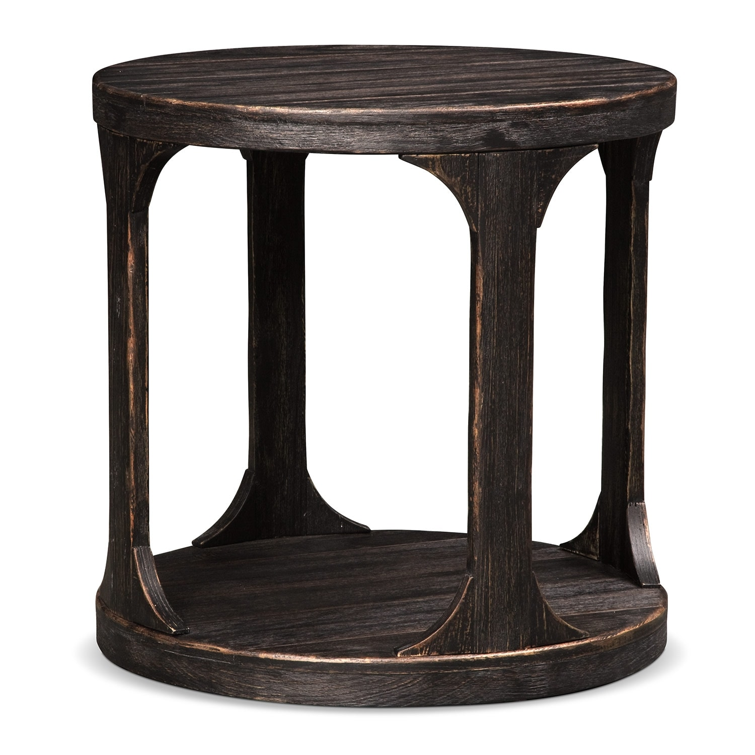 Accent and Occasional Furniture - Prentice Round End Table - Weathered Black