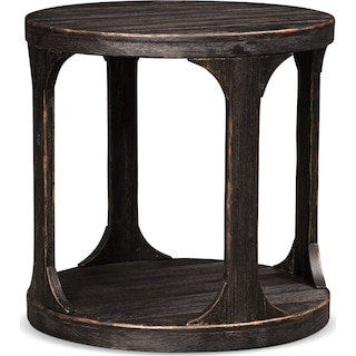 Prentice Round End Table - Weathered Black
