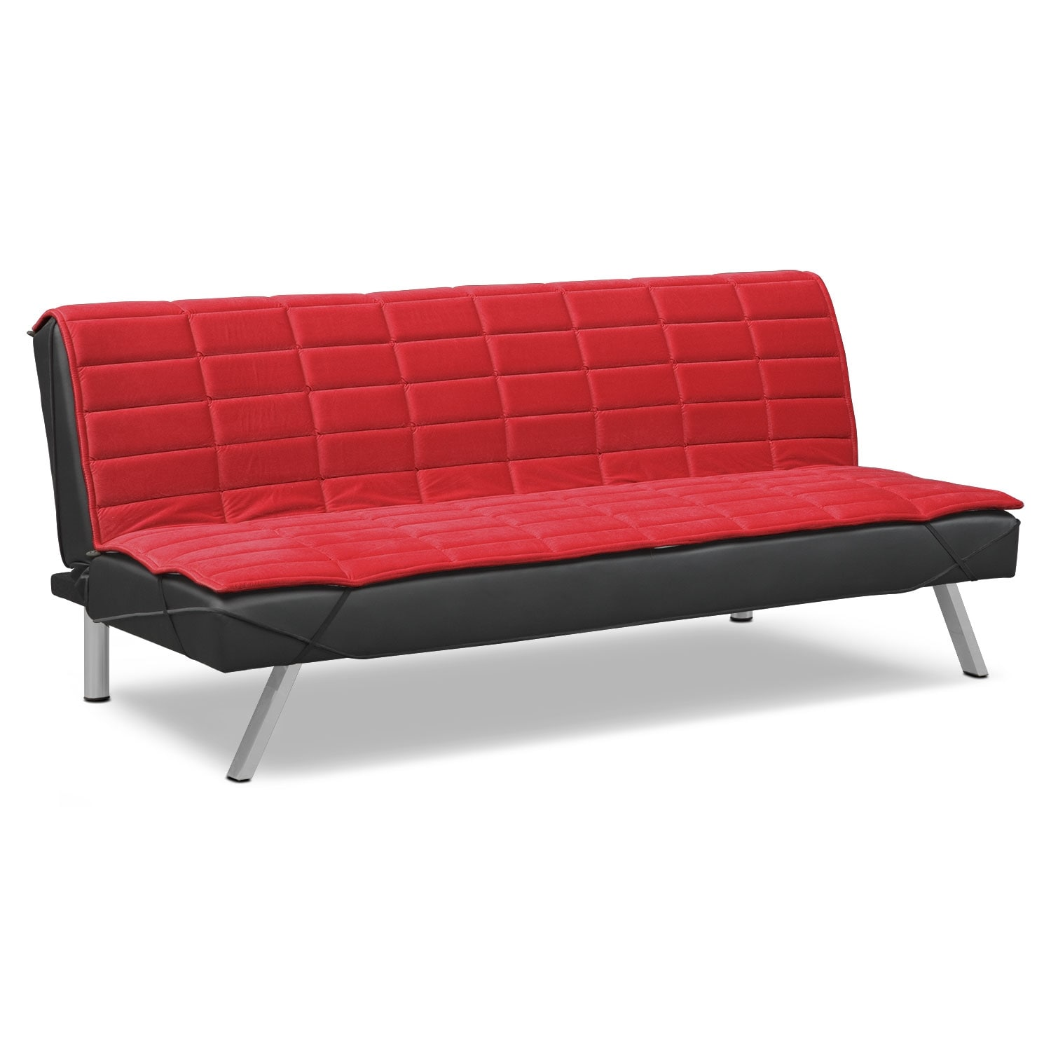 Lotus Futon Sofa Bed - Black/Red