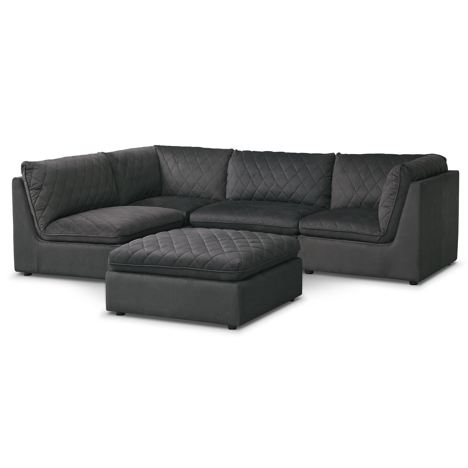 Living Room Furniture - Coco Charcoal 4-Piece Sectional with Cocktail Ottoman