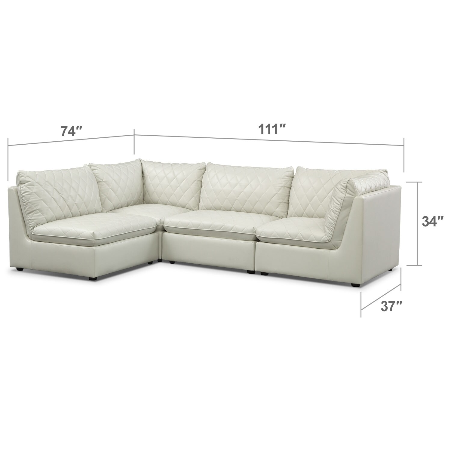 Living Room Furniture - Coco 4-Piece Sectional - Mist