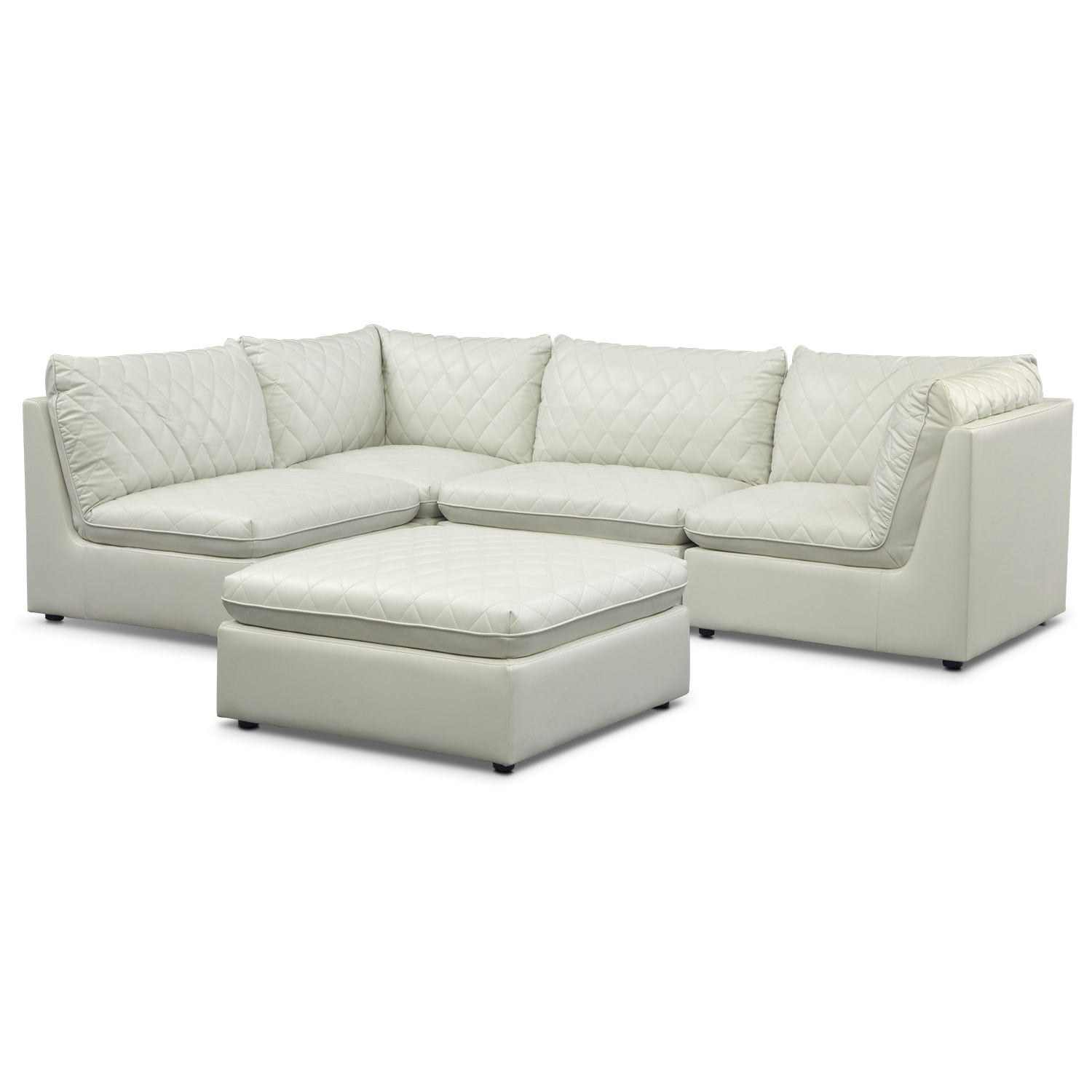 Living Room Furniture - Coco Mist  4-Piece Sectional with Cocktail Ottoman