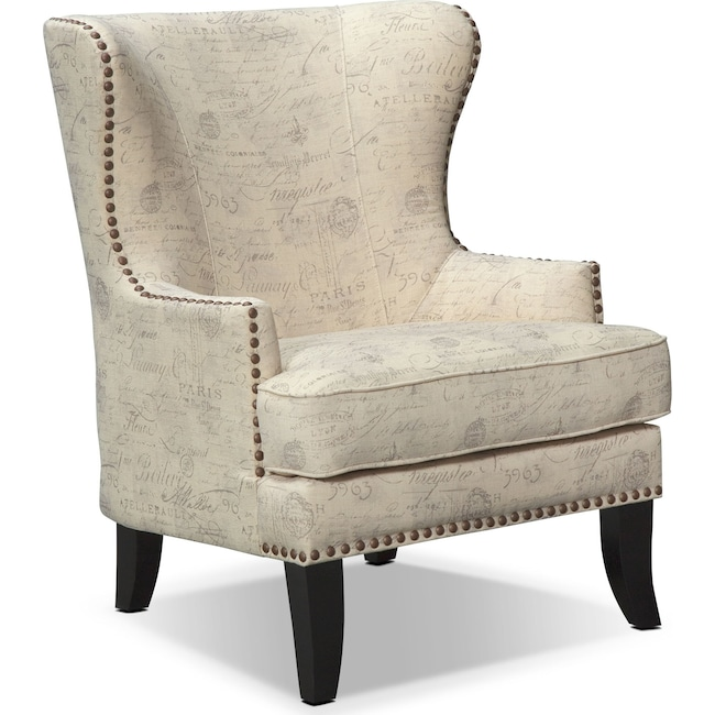 Marseille accent chair cream and black american signature furniture for Occasional chairs for living room