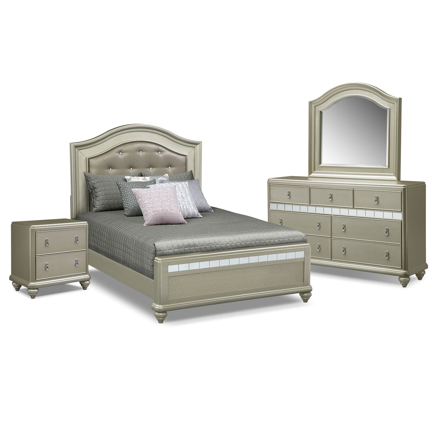Bedroom Furniture - Serena Queen 6-Piece Bedroom Set - Platinum