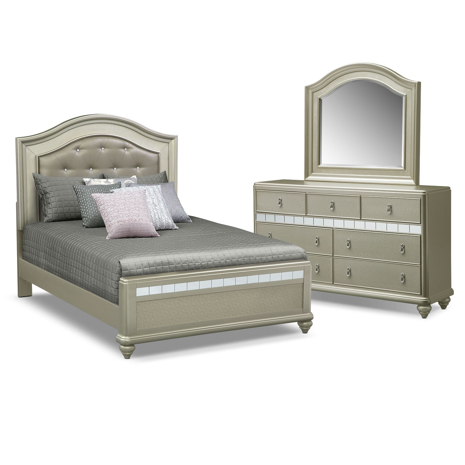 Serena Queen 5-Piece Bedroom Set - Platinum