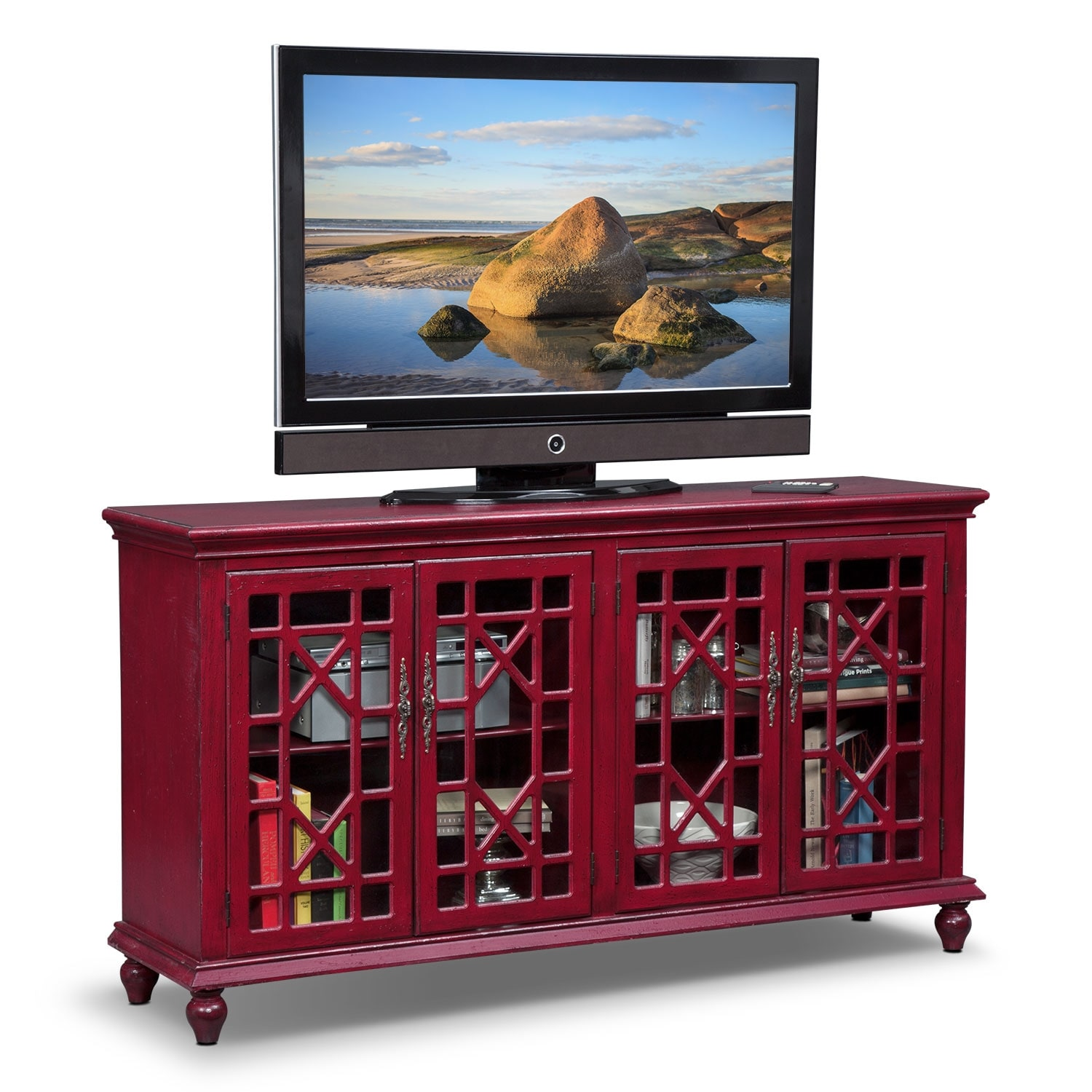 Accent and Occasional Furniture - Grenoble Media Credenza - Red