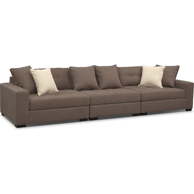Living Room Furniture - Venti 3-Piece Sectional - Mocha