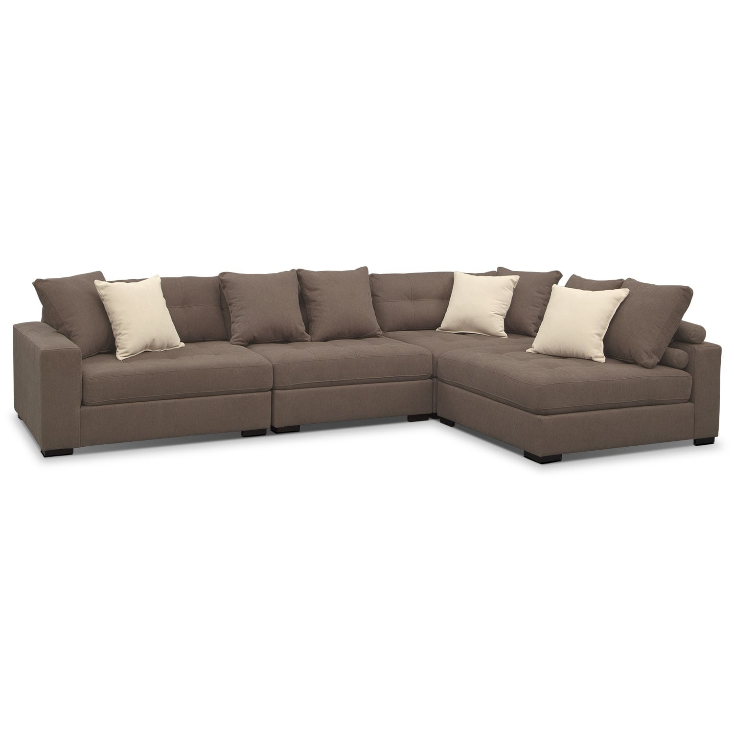 Venti 4 piece sectional mocha american signature furniture for 4 piece living room furniture