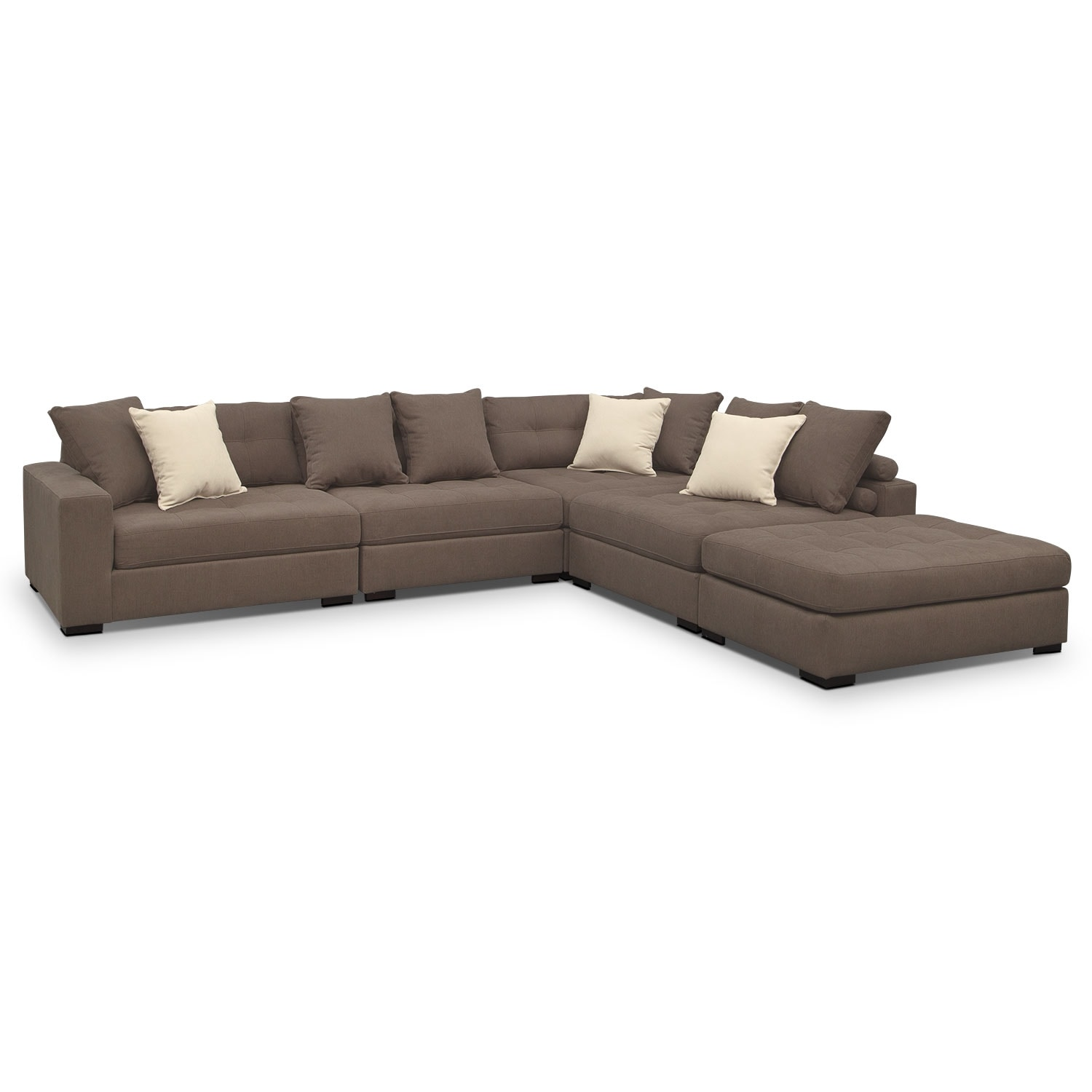 Venti 5-Piece Sectional with Cocktail Ottoman - Mocha