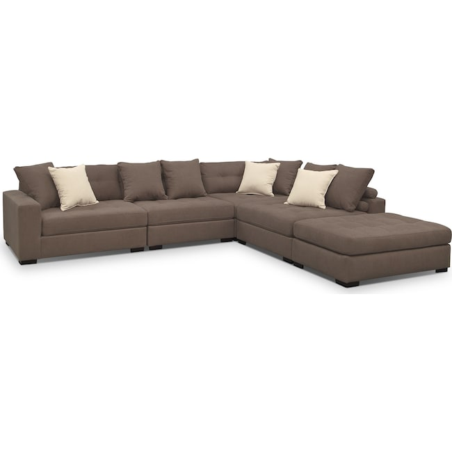 Living Room Furniture - Venti 5-Piece Sectional with Cocktail Ottoman - Mocha